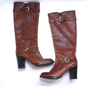 Micheal Kors Aged Leather Gold Blucke High Boots